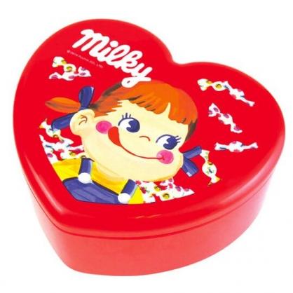 〔小禮堂〕不二家PEKO 愛心造型塑膠掀蓋收納盒附鏡《紅.大臉》飾品盒.珠寶盒