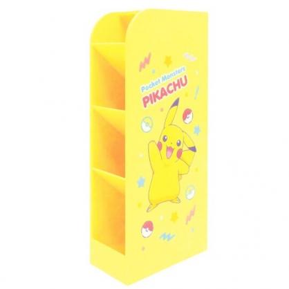 〔小禮堂〕神奇寶貝Pokemon皮卡丘 桌上型四層直式收納盒《黃.招手》置物盒.筆筒