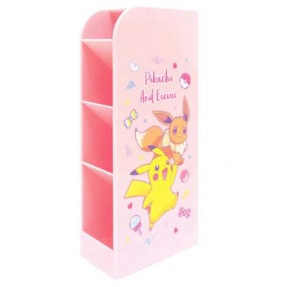 〔小禮堂〕神奇寶貝Pokemon皮卡丘 桌上型四層直式收納盒《粉.跳躍》置物盒.筆筒
