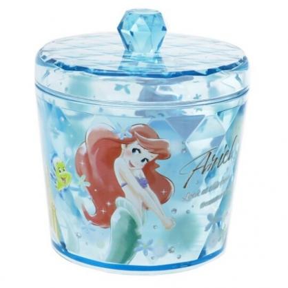 〔小禮堂〕迪士尼 小美人魚 圓形壓克力拿蓋收納罐《淡綠.側身》置物罐.棉花罐.收納盒