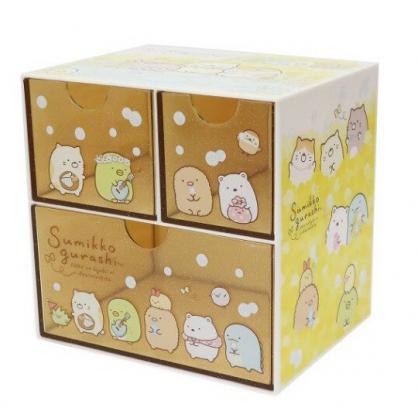 〔小禮堂〕角落生物 桌上型塑膠三抽收納盒《黃.戴花圈》置物盒.抽屜盒.飾品盒