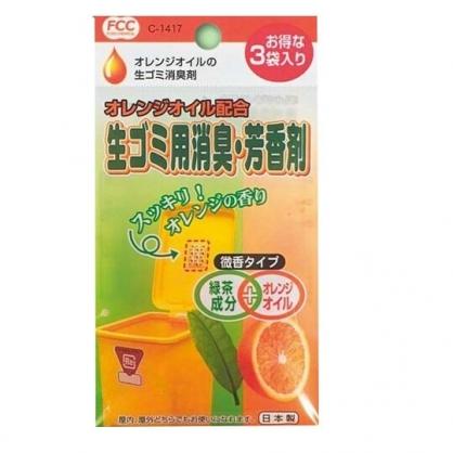 〔小禮堂〕日本不動化學 日製垃圾桶專用貼式除臭劑《3入.橘綠袋裝》橘子香.芳香劑.脫臭劑