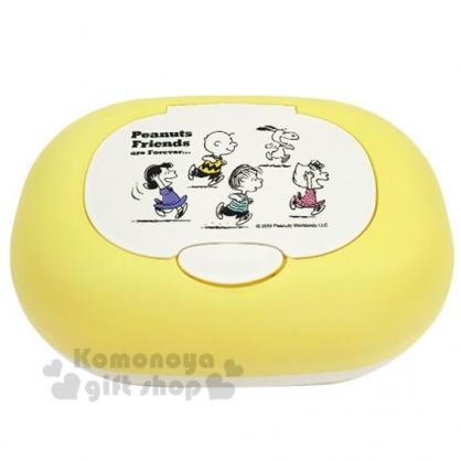 〔小禮堂〕史努比 日製橢圓塑膠按壓彈蓋收納盒《黃白.跑步》抽取式紙巾盒.面紙盒