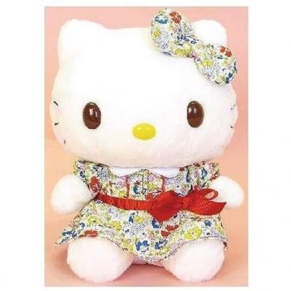 〔小禮堂〕Hello Kitty 絨毛玩偶娃娃《S.藍花洋裝》擺飾.玩具