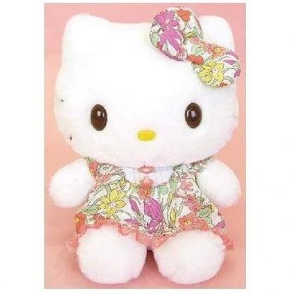 〔小禮堂〕Hello Kitty 絨毛玩偶娃娃《S.粉花洋裝》擺飾.玩具