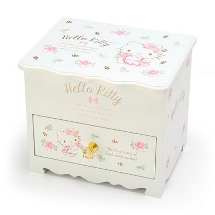 〔小禮堂〕Hello Kitty 桌上型木製掀蓋單抽化妝鏡收納櫃《白》化妝鏡盒.飾品盒