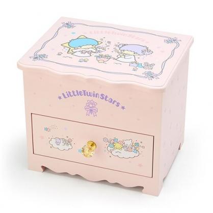 〔小禮堂〕雙子星 桌上型木製掀蓋單抽化妝鏡收納櫃《粉》化妝鏡盒.飾品盒