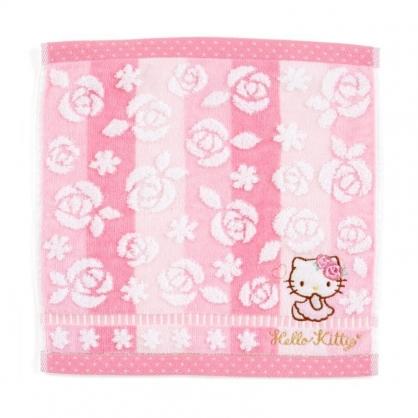 〔小禮堂〕Hello Kitty 純棉割絨小方巾《粉白.刺繡花》25x25cm.毛巾.手帕