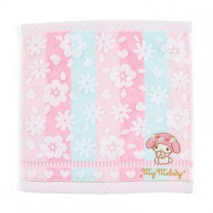 〔小禮堂〕美樂蒂 純棉割絨小方巾《粉綠.刺繡花》25x25cm.毛巾.手帕