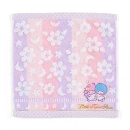 〔小禮堂〕雙子星 純棉割絨小方巾《粉紫.刺繡花》25x25cm.毛巾.手帕