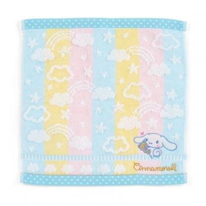 〔小禮堂〕大耳狗 純棉割絨小方巾《藍黃.刺繡雲》25x25cm.毛巾.手帕