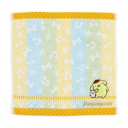 〔小禮堂〕布丁狗 純棉割絨小方巾《黃綠.刺繡音符》25x25cm.毛巾.手帕