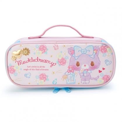 〔小禮堂〕甜夢貓 皮質全開掀蓋拉鍊筆袋《粉藍.香水瓶》鉛筆盒.化妝包.收納包