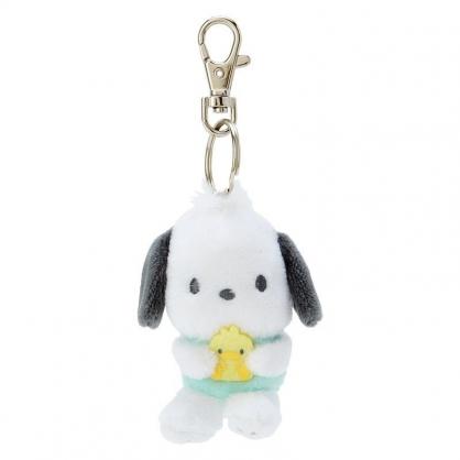 〔小禮堂〕帕恰狗 迷你絨毛玩偶娃娃鑰匙圈《白綠.抱小雞》吊飾.掛飾.鎖圈