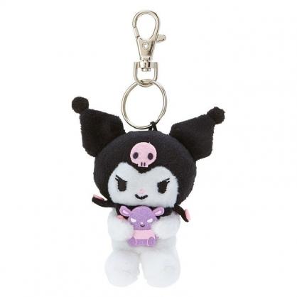 〔小禮堂〕酷洛米 迷你絨毛玩偶娃娃鑰匙圈《黑紫.抱朋友》吊飾.掛飾.鎖圈