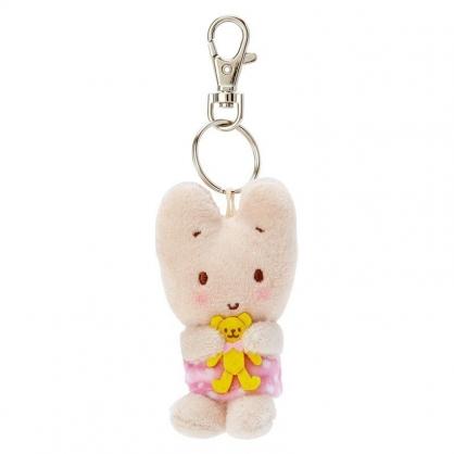 〔小禮堂〕兔媽媽 迷你絨毛玩偶娃娃鑰匙圈《粉黃.抱熊》吊飾.掛飾.鎖圈