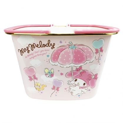 〔小禮堂〕美樂蒂 圓角塑膠手提置物籃《粉.草莓窗戶》菜籃.購物籃.提籃