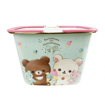 〔小禮堂〕懶懶熊 拉拉熊 圓角塑膠手提置物籃《綠.冰淇淋》菜籃.購物籃.提籃