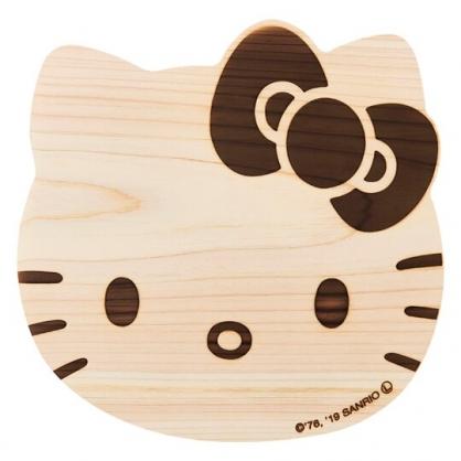 〔小禮堂〕Hello Kitty 日製大臉造型木質砧板《棕》托盤.菜砧