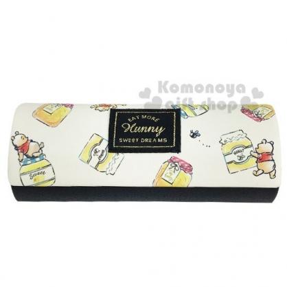 〔小禮堂〕迪士尼 小熊維尼 半圓皮質硬殼眼鏡盒《米黃.蜂蜜罐》附眼鏡布.收納盒