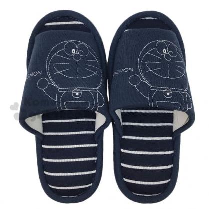〔小禮堂〕哆啦A夢 棉質室內拖鞋《深藍.招手》保暖拖.成人拖