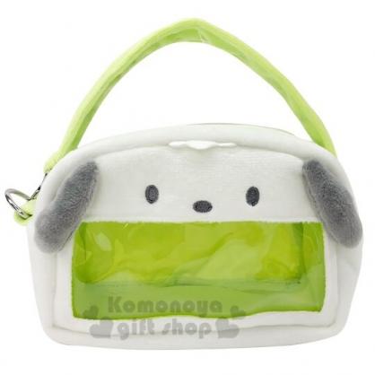 〔小禮堂〕帕恰狗 造型耳朵絨毛玩偶收納手提包《綠白》娃娃收納包.展示包