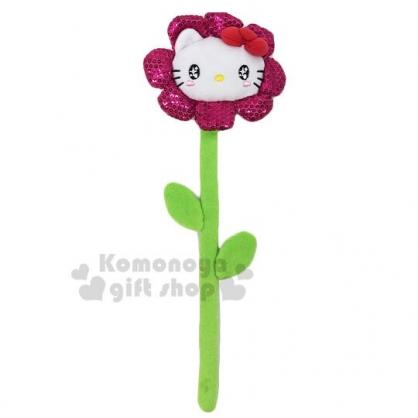 〔小禮堂〕Hello Kitty 花朵造型絨毛玩偶娃娃掛飾《桃綠》壁掛飾.擺飾