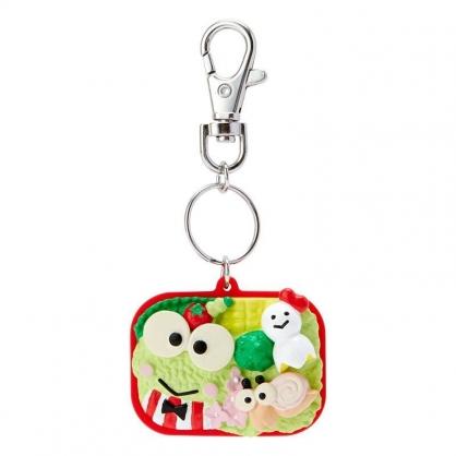 〔小禮堂〕大眼蛙 立體便當造型塑膠鑰匙圈《綠紅》吊飾.掛飾.鎖圈