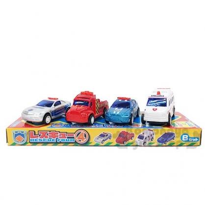 〔小禮堂〕迷你塑膠迴力車組《4入.紅泡殼裝》小汽車.玩具車.兒童玩具