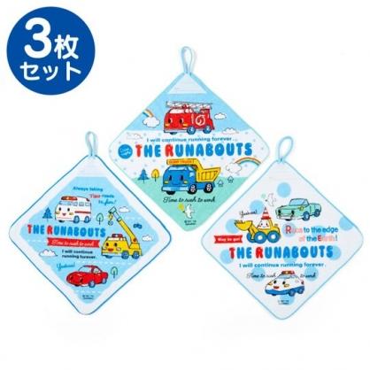 〔小禮堂〕RB工程車 可掛式純棉割絨擦手巾組《3入.藍白.車種》27x27cm.毛巾