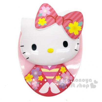 〔小禮堂〕Hello Kitty 造型塑膠蛋形梳《粉.和服》按摩梳.隨身梳