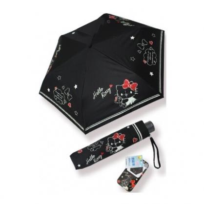 〔小禮堂〕Hello Kitty 抗UV折疊雨陽傘《黑.抱小熊》折傘.雨傘.雨具