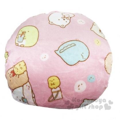 〔小禮堂〕角落生物 圓形絨毛抱枕靠墊《粉.居家》靠枕.午睡枕