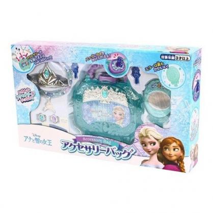 〔小禮堂〕迪士尼 冰雪奇緣 皇冠首飾手提收納盒玩具組《綠紫盒裝》化妝玩具.兒童玩具