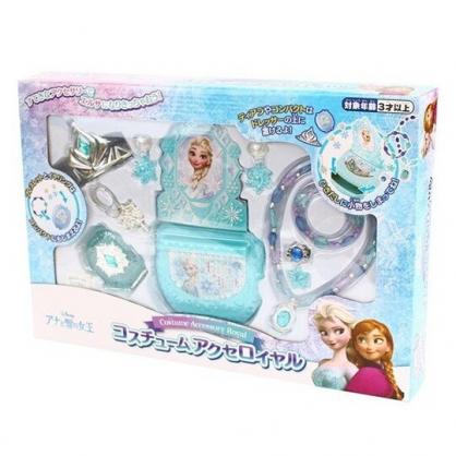 〔小禮堂〕迪士尼 冰雪奇緣 項鍊首飾抽屜收納盒玩具組《綠紫盒裝》化妝玩具.兒童玩具