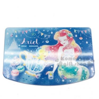 〔小禮堂〕迪士尼 小美人魚 方形塑膠掀蓋收納盒附鏡《深藍.閉眼》飾品盒.珠寶盒
