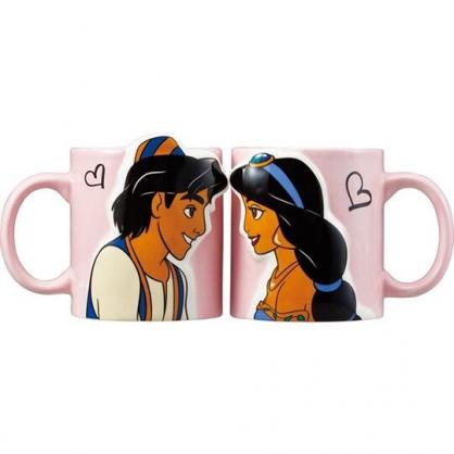〔小禮堂〕迪士尼 阿拉丁 茉莉公主 造型陶瓷馬克杯組《粉藍.對看》茶杯.咖啡杯.對杯
