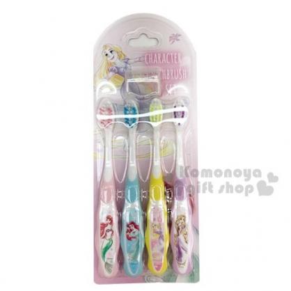 〔小禮堂〕迪士尼 公主 造型柄兒童牙刷組附牙刷蓋《4入.紫.角色》學童牙刷