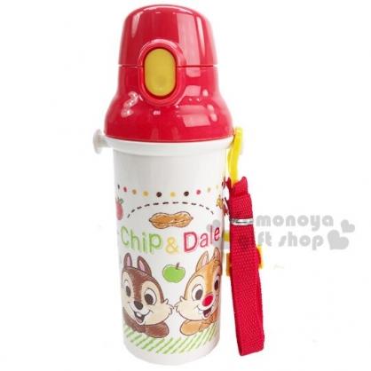 〔小禮堂〕迪士尼 奇奇蒂蒂 日製直飲式水壺附背帶《米紅.蘋果》480ml.水瓶.兒童水壺