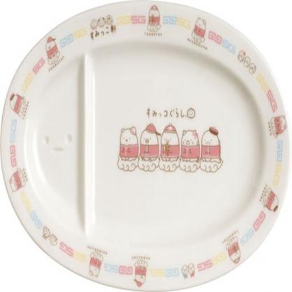 〔小禮堂〕角落生物 橢圓陶瓷餃子盤《白.中國服》點心盤.沙拉盤