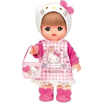 〔小禮堂〕LICCA 莉卡娃娃 x Helllo Kitty 換裝衣服道具組《粉白.格紋洋裝》洋娃娃配件.兒童玩具