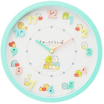 〔小禮堂〕角落生物 連續秒針圓形壁掛鐘《綠.抱愛心》時鐘