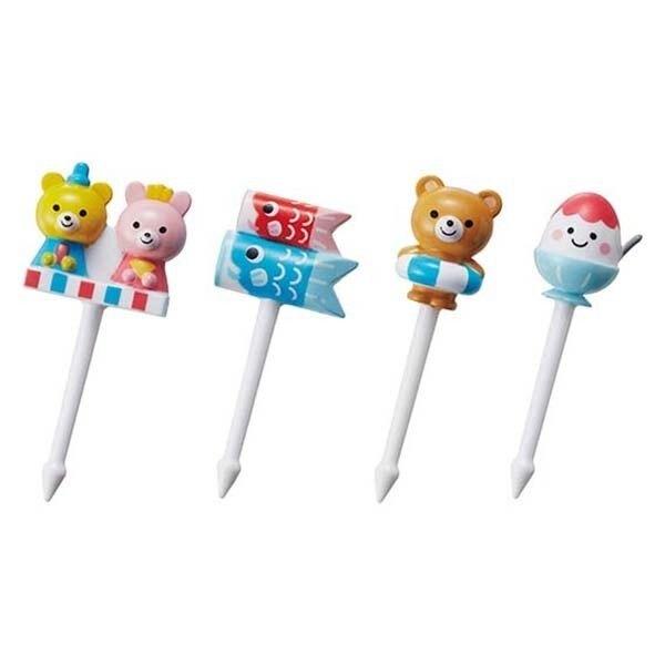〔小禮堂〕日本TORUNE 造型塑膠食物裝飾叉組《4入.藍.刨冰》甜點叉.水果叉.食物叉