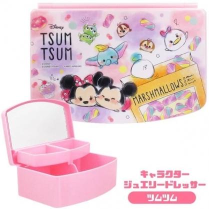 〔小禮堂〕迪士尼 TsumTsum 方形塑膠掀蓋收納盒附鏡《粉.蛋糕》飾品盒.珠寶盒
