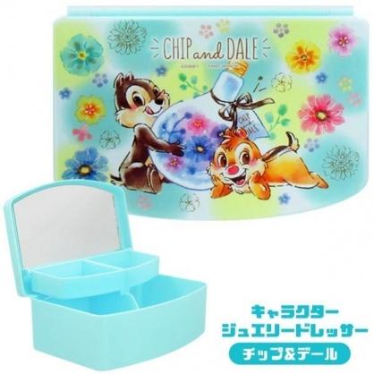 〔小禮堂〕迪士尼 奇奇蒂蒂 方形塑膠掀蓋收納盒附鏡《綠.燈泡花》飾品盒.珠寶盒