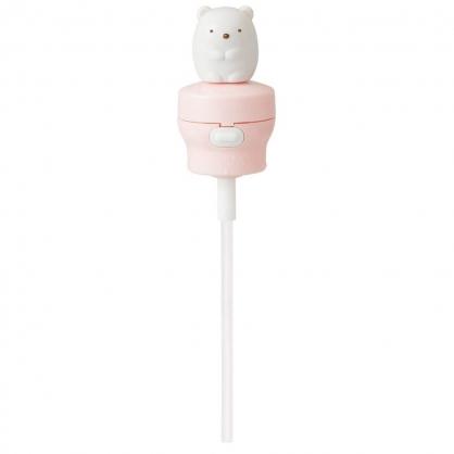 〔小禮堂〕角落生物 北極熊 造型寶特瓶彈蓋吸管《粉白.坐姿》350/500ml適用.環保吸管