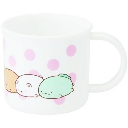 〔小禮堂〕角落生物 日製單耳塑膠小水杯《粉白.點點趴姿》200ml.漱口杯.茶杯