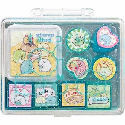 〔小禮堂〕角落生物 迷你盒裝橡皮印章組《綠.排坐》印泥.玩具章.橡皮章