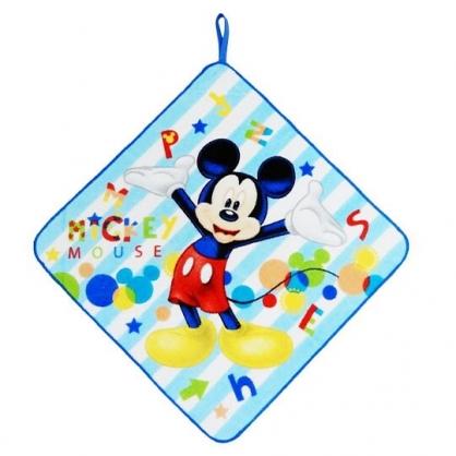 〔小禮堂〕迪士尼 米奇 可掛式純棉割絨擦手巾《藍白.舉雙手》33x33cm.毛巾