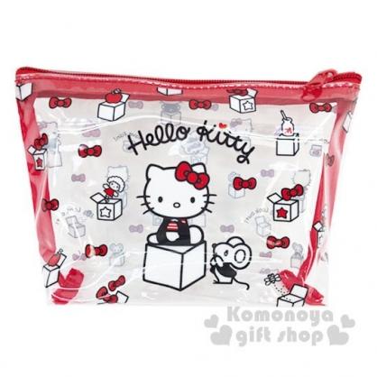 〔小禮堂〕Hello Kitty 船形透明旅行盥洗包兩件組《紅》空瓶.空盒.化妝包
